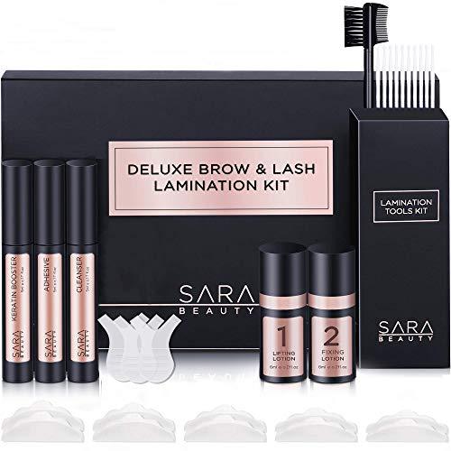 Sara Beauty Brow Lamination Kit & Lash Lift Kit | Instant Fuller Lash & Eyebrow Perm Kit with Premium Brow Brush | Ideal for Home DIY & Salon, Airless Pump Technology Long Lasting Formula Lasts 8 Weeks