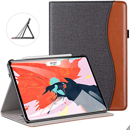 ZtotopCase Case for iPad Pro 12.9 Inch 2018 (3rd Gen),Premium Leather Business Folio Cover,with Stand and Pocket,Support 2nd Gen iPad Pencil Wireless Charging and Auto Wake/Sleep,Denim Black