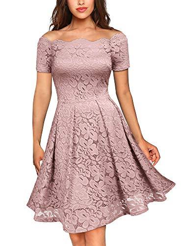 MIUSOL Damen Vintage 1950er Off Schulter Cocktailkleid Kurzarm Retro Spitzen Schwingen Pinup Rockabilly Kleid Rosa S