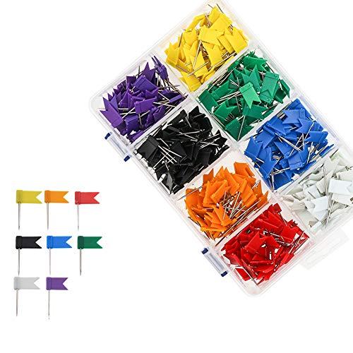 Farbige Flagge Travel Map Push Pins, Coideal 400 Pack Mehrfarbige dekorative Kartenhalter für Cork Bulletin Board, Bild hängen zu Hause Office School (8 verschiedene Farben)