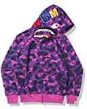 Photo de Pull Unisexe Bape Shark Head Camo Zip, Sweat à Capuche Coupe Slim, Cadeaux pour Hommes et Femmes,Violet,M