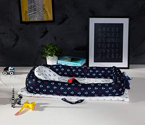 TEALP Kuschelnest Babynest Multifunktionales Nest für Babys Säuglinge Reisebett, 100% Baumwolle, Marineblau-Anker des Seethemas (0-24 Monate) - 3