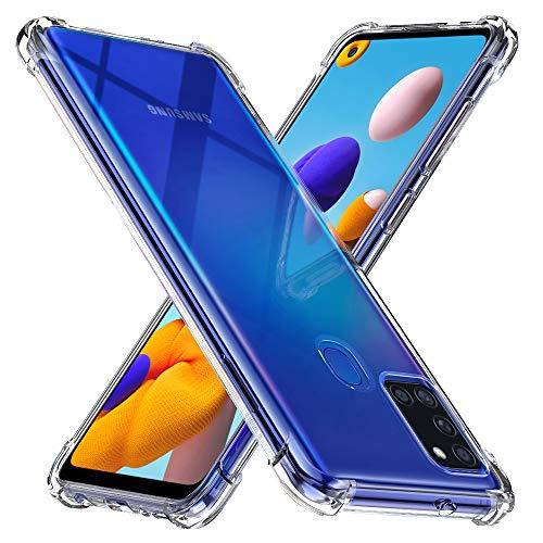 Peakally Funda Samsung Galaxy A21s, Transparente Silicona Funda para Samsung Galaxy A21s Carcasa Flexible Claro Ligero TPU Fundas [Antideslizante] [Resistente a arañazos]-Transparente