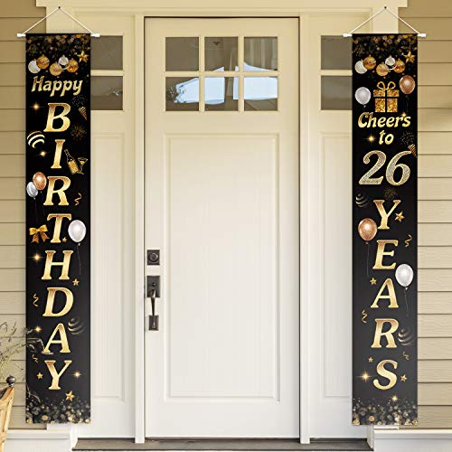 Happy Birthday Cheers to 26 Years Black Gold Yard Sign Door Banner 26th Birthday Decorations Party Supplies