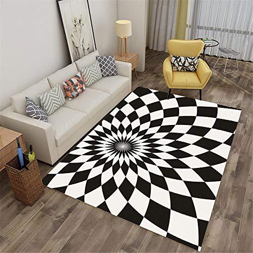 WQ-BBB Alfombra Absorbente El Dormitorioes La Alfombrae Diseño de Efecto 3D en Blanco y Negro de Flores geométricas rombo Alfombra de Goma Alfombra Entrada casa Exterior 180X280cm