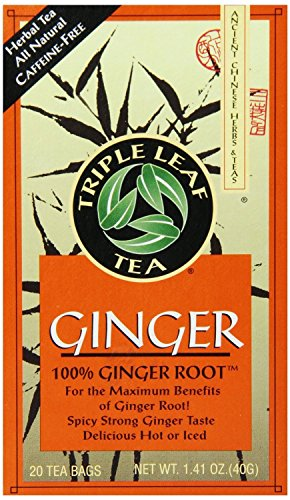 Triple Leaf Tea, Tea Bags, Ginger, 1.4-Ounce Bags, 20-Count Boxes (Pack of 3)