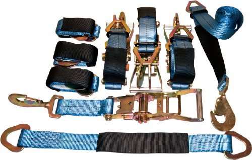 4 Axle Strap Tie Downs 24' Long and 4 Ratchet Tow Straps Car Haulers