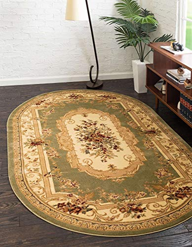 Unique Loom Versailles Collection Traditional Classic Green Oval Rug (3' 3 x 5' 3)