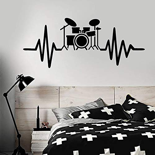 Lamubh Schlagzeug Kit Wandtattoo Schlagzeuger Musiker Musikliebhaber Vinyl Kunst Wandbilder Wandaufkleber Musical Studio Schlafzimmer Wohnzimmer Wohnkultur 57cmx30cm