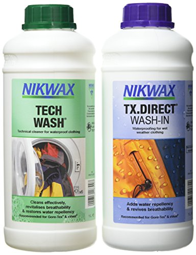 Nikwax Produit imperméabilisant Tech Wash et TX. Direct Wash-in à Utiliser en Machine (Lot de 2), Mixte, Tech Wach an TX. Direct, Blanc, 1 Litre