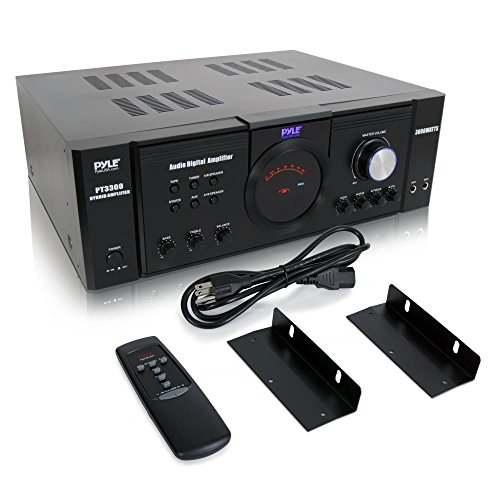 Pyle 3000 Watt Premium Home Audio Power Amplifier - Portable 4 Channel Surround Sound Stereo Receiver w/ Speaker Selector & Remote - For Amplified TV, Subwoofer Speakers, Theater & PA System - PT3300 Black