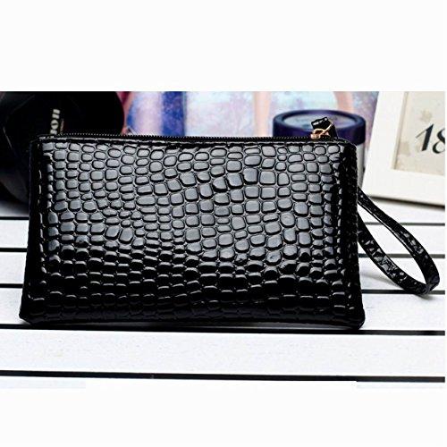 NUWA Hot Sale Elegant Lady Women Purse Long Wallet Envelope Leather Wallet Zip Clutch Bag credit Card Holder Handbag Organizer New Fashion S160528 (Black)
