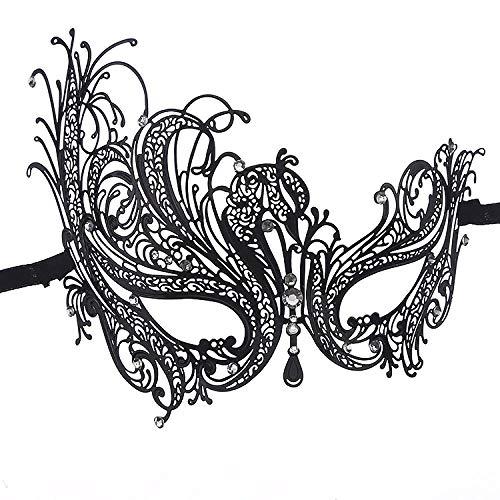 XWYWP Máscaras Halloween Phantom Metal Venetian Party Mask Halloween Masquerade Maquillaje Hollow Swan Mask Rhinestone Phoenix Eye Mask Black
