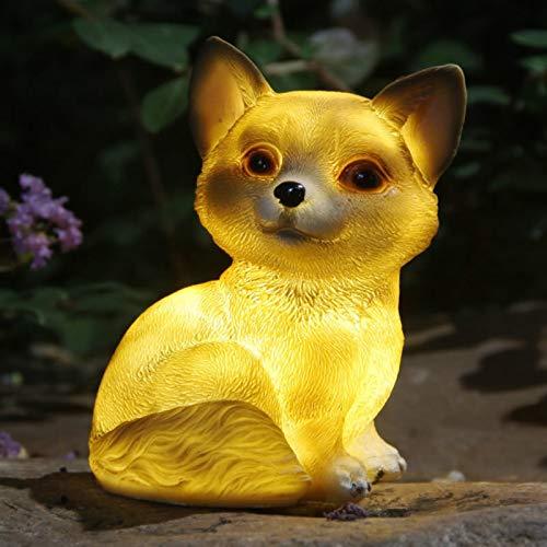 wxq LED Solar Garden Light Fox Dog Snails Rabbit Owl Figurine Solar-Powered Light Lawn Lamp Home Outdoor Yard Deco Animal Solar Lamp (Emitting Color : Dog)