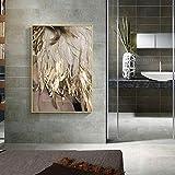 QWESFX Art Golden Feather Painting Pinturas de Gatos en Lienzo Pinturas Set Lienzo estirado para Pinturas para dormitorios (Imprimir sin Marco) A1 35x70CM