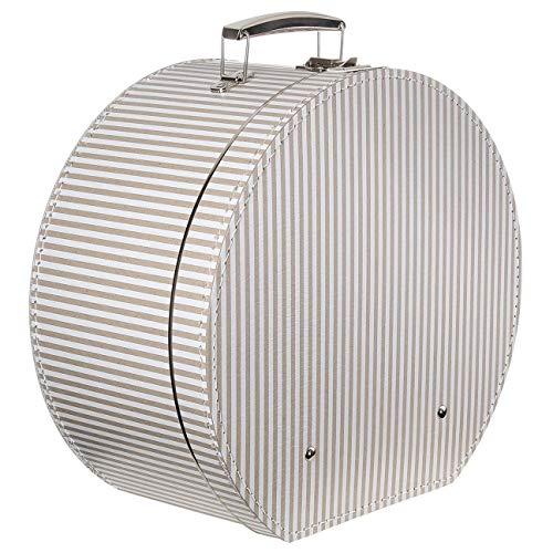 Lierys Hutkoffer Beige-Streifen - Maße: ca. 40 cm x 20 cm - Große Hutschachtel mit Kunstleder - Hutbox zur Aufbewahrung mit Tragegriff - Koffer für Hüte - auch als Deko für Wohnung beige