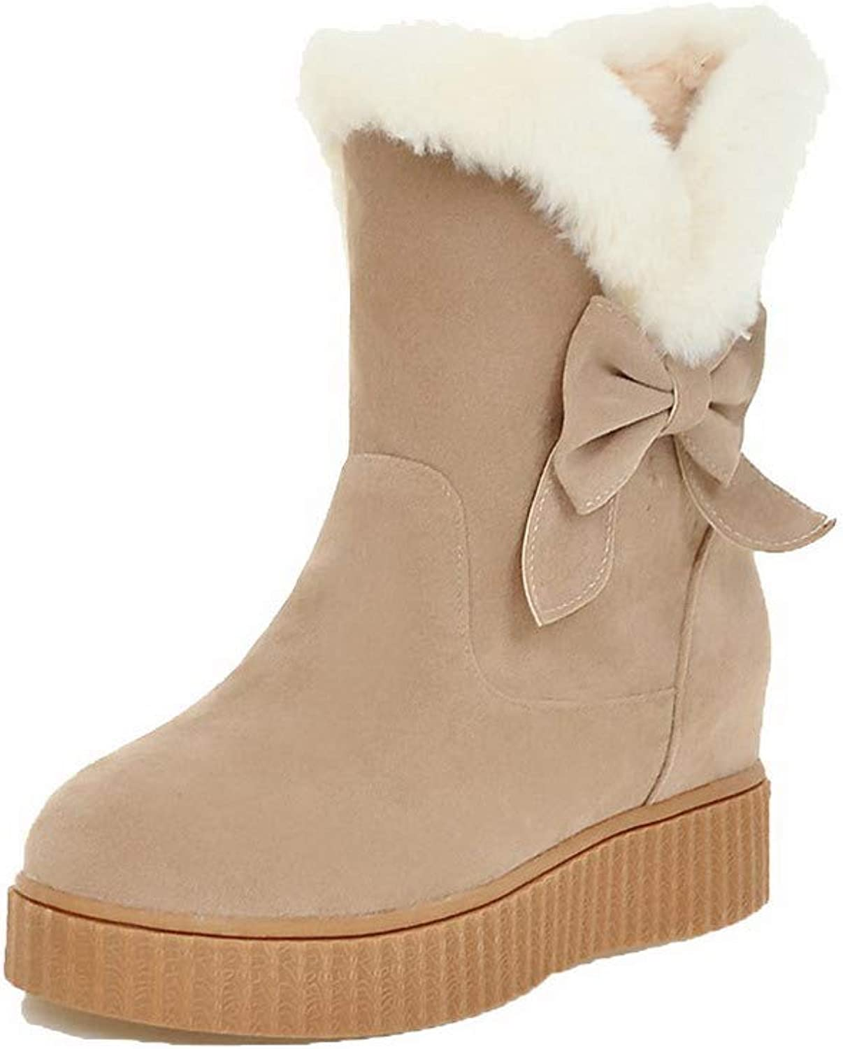 AmoonyFashion Women's Pull-On Kitten-Heels Frosted Assorted color Low-Top Boots, BUTXT024862