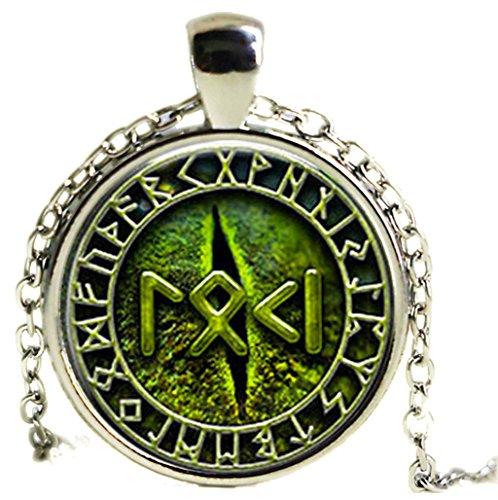 Halskette mit Anhänger: Loki in Runenschrift– Schlangenauge–Wikinger–Nordischer Stil–Grün