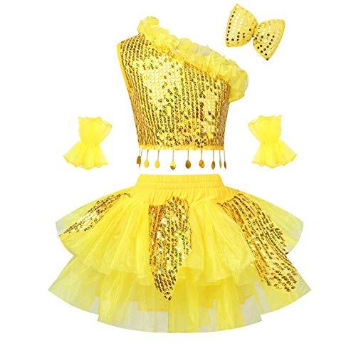 ranrann Conjuntos de Disfraz para Niña Vestido de Danza Disfraz de Danza Princesa Vestido de Fiesta Ropa de Danza Traje de Danza Amarillo 14 años