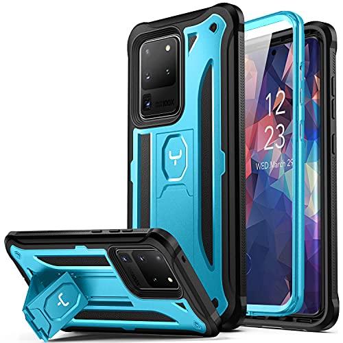 YOUMAKER Schutzhülle für Samsung Galaxy S20 Ultra, integrierter Bildschirmschutz, funktioniert mit Fingerabdruck-ID mit Ständer Ganzkörper haltbare stoßfest Hülle für Galaxy S20 Ultra 5G -Blue