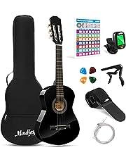 Moukey アコースティックギター 初心者セット 30インチ 厳選バスウッド材 学生 入門練習ギター コードポスター · チューナー · ケース付き ブラック