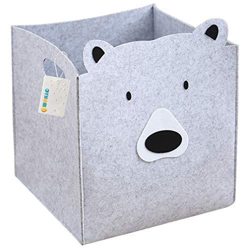 OYHOMO Kinder Aufbewahrungsbox Filzkorb Faltbare Aufbewahrungskorb Tiere Motiv Spielzeugkiste Filz Aufbewahrungskiste mit Griffe für Bücher, Kleidung, Spielzeug - Bär