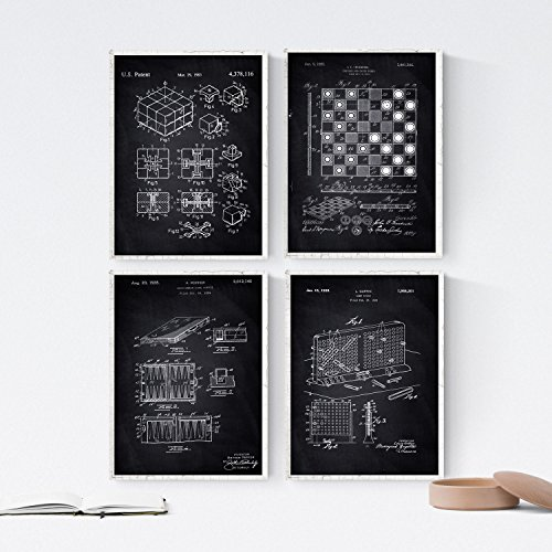 ZWART - pak van 4 vellen met OCTROOIEN van spellen. Maak posters met uitvindingen en oude patenten. Kies de gewenste kleur. Gedrukt op hoge kwaliteit 250 gram. Nacnic