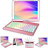 iPad Case Keyboard 10.2,Keyboard for iPad 8th Generation/7th Gen-10 Color Backlit Wireless Keyboard -360° Rotatable Slim Protective Cover iPad Keyboard for 10.2 8th/7th Gen -Apple iPad Keyboard Case