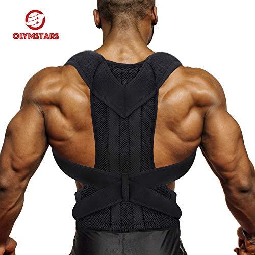Olymstars Schultergurt Haltungskorrektur, Verstellbarer Atmungsaktiv Rücken Geradehalter für Damen und Herren, Rückenstütze zur Therapie für haltungsbedingte Nacken, Rücken und Schulterschmerzen