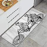 PATINISA Alfombra de Cocina,Hombre y Mujer Antiguos en Bicicleta tándem,Antideslizante Estera Cocina Lavable Alfombrillas Absorbentes Pasillo alfombras,120x45cm