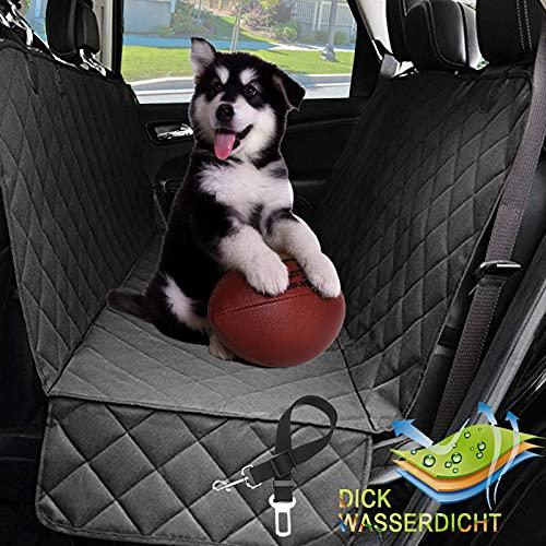 Autoschondecke Hund mit Seitenklappe für Auto Rückbank, rutschfeste wasserdichte Hunde Autodecke für Haustier, Langlebig Einfach zu Reinigen Hund Auto Rückbank für Pkw LKW SUV (Schwarz)