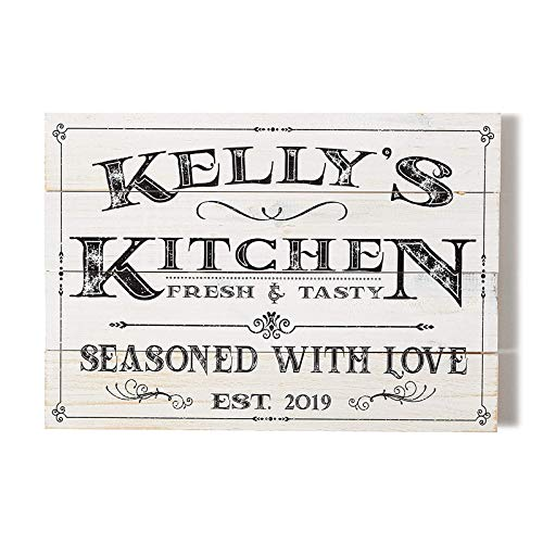 Personalized Rustic Wood Style Kitchen Wall Decor Sign Farmhouse Kitchen Decor, Last Name Signs for Home,Family Sign Housewarming Gifts,Wedding Gifts