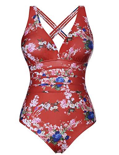 Aibrou Costume da Bagno Donna Sexy Interi Bikini Costumi da Mare Spiaggia Elegante Monokini S-XXL (Rosso*Fiore, XXX-Large)