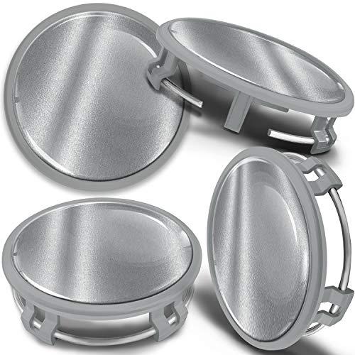 SkinoEu 4 x 75mm Tapas de Rueda de Centro Centrales Llantas Aluminio Tapacubos Compatibles con Mercedes Benz B66470207 / B66470200 Plata Gris CMS 8