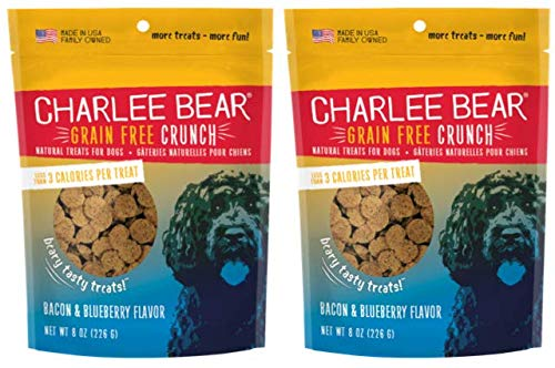 Charlee Bear Crunch Bacon & Blueberry Flavor Dog Treat and Snack (2 Pack) 8 oz Each