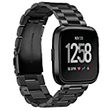 Aresh Compatible for Fitbit Versa 2 Bands Versa Lite Versa SE Versa Band, Solid Stainless Steel Replacement Metal Strap Accessories for Women Men (Black)