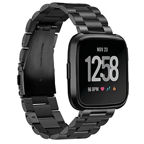 Aimtel Kompatibel mit Fitbit Versa 2 Armband/Fitbit Versa/Fitbit Versa Lite, Solid Edelstahl Metall Ersatz Armband Zubehör für Fitbit Versa 2/ Fitbit Versa/Fitbit Versa Lite Smartwatch(Schwarz)