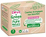 Love & Green Pure Nature - Pañales ecológicos sin blanquear, T3 4-9 kg