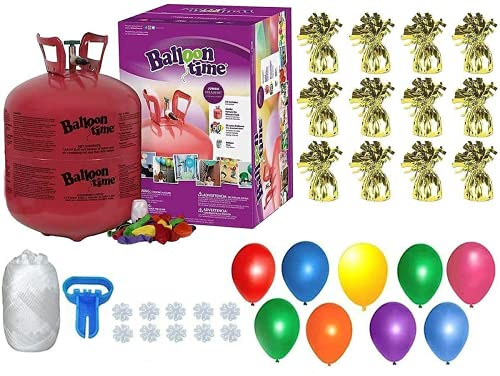 Helium Tank with 50 Balloons and White Ribbon + 12 Gold Balloon Weights + Plus Balloon Tying Tool