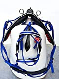 ZAIN TACK NEW STRONG DRIVING CART HARNESS SET TWO TONE FOR SINGLE HORSE BLUE/WHITE (COB)