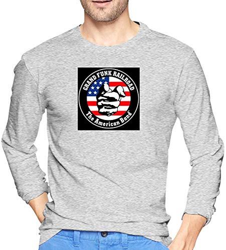 Long Sleeve Mens Grand Funk Railroad Logo 2 Large Cute T-Shirts tee,Gray,Large