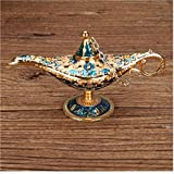 NaisiCore Golden Blue Classic Vintage Aladdin Ligera aleación de Zinc Creativa Genie Vestuario Prop de la lámpara de Mesa Decoración Hogar Casa y jardín