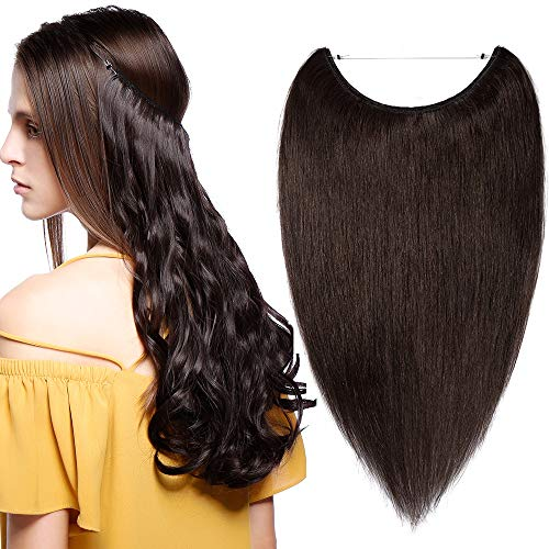 Extensiones de Cabello Natural con Hilo Invisible No Clip 100% Remy Pelo Natural Humano Una Pieza Liso Ajuatable Hair Extensions 16