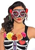 Amscan 843926-55 - Augenmaske Tag des Todes, 1 Stück, Größe ca. 18 x 19 cm, mehrfarbig, Maske Day of the Dead, Schmuckbänder u. Blüten, Dia de los Muertos, mexikanischer Feiertag, Halloween, Karneval
