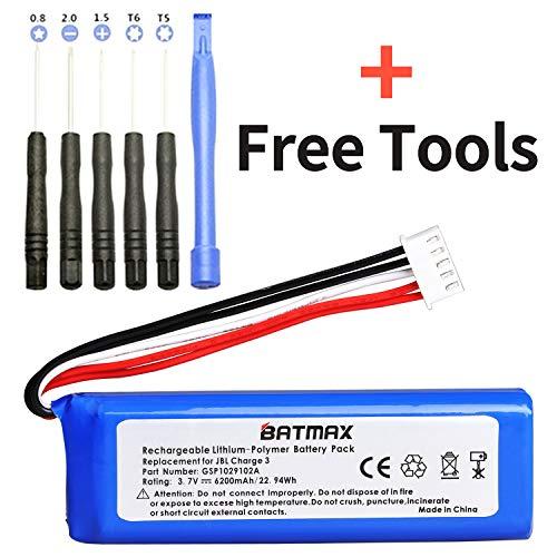 Batmax 3.7V 6200mAh Battery GSP1029102A for JBL Charge 3