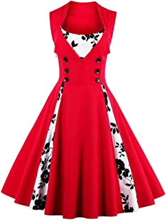 Women's Christmas 1950s Vintage Dress High Waist Casual Party Cocktail Swing Dress