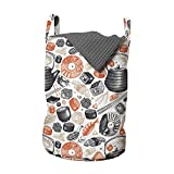 ABAKUHAUS Sushi Bolsa de lavandería, Camarones Rolls y wasabi Alimentos, Cesta con asas Cierre de cordón para las lavanderías, 33 x 33 x 49 cm, Salmón negro y beige