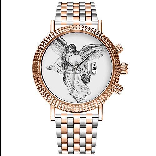 Mode wasserdichte Herren-Armbanduhr Analog Quarz Edelstahl Mit Gold 201.Angel Drawing.png Uhren
