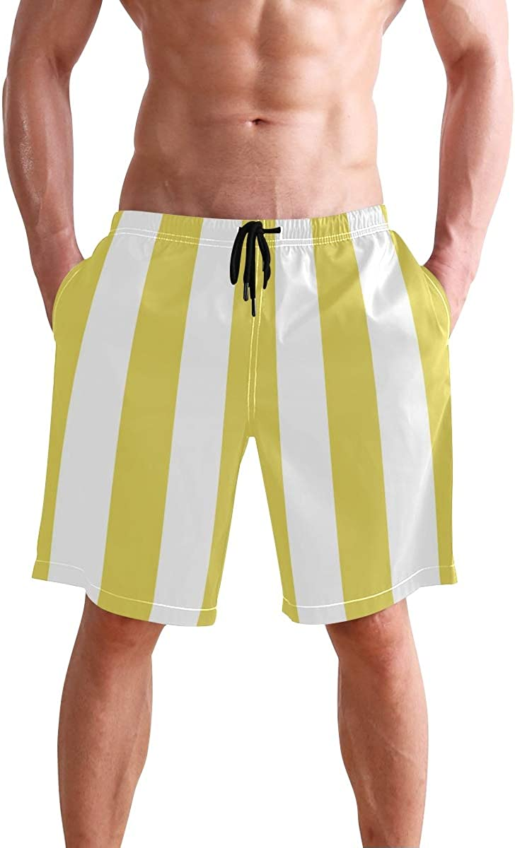 AHOMY Men's Quick Dry Swim Trunks with Pockets Yellow and White Striped Beach Swimwear Board Shorts