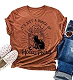 Hocus Pocus Halloween Shirts for Women Fall Tee Shirt Classic Halloween Movie Tops (L, Orange)
